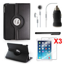 Ultra 360 Roating Case+Screen Skin+Headset+Car Charger for Apple iPad Air,iPad 5