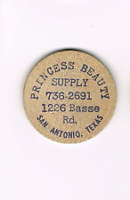 Vintage Wooden Nickel Princess Beauty Supply  San Antonio, Texas *FREE SHIPPING*