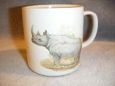 "Vtg Stoneware Pottery Rhinoceros Japan small Mug nice Signed ""F.T Maryann"""