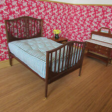 Artist made walnut wood double bed  & mattress ~ doll house miniature ~1/12