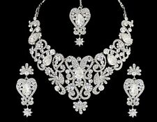 Indian Belly Dance Hollywood Scroll Bib 4pc Silver Crystal Bridal Jewellery Set