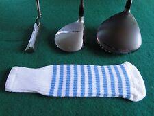 Knitted zebra style Fairway & Driver Golf  head cover / Optic White / Lt. Blue