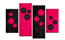 """DEEP FUCHSIA PINK AND BLACK ABSTRACT CANVAS PICTURE ART SPLIT MULTI 4 PANEL 40"""""""