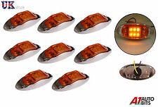 8X 24V 6 LED LATERALE Arancione Amber Chrome Marcatore Luci Lampade Rimorchio Horsebox Van