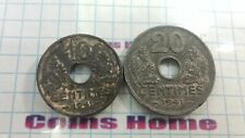 Coins Home lot of 2 FRANCE 1941 THIRD REICH occupation 10, 20 centimes Lot#ACE9
