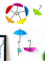 3pcs/set Cute Umbrella Wall Mount Key Holder Wall Hook Hanger Organizer Durable