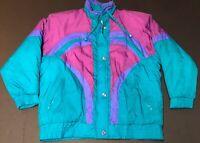 Women's Vintage 80s 90s INCROWN Color Block Puffer Ski Jacket Sz M Purple ***