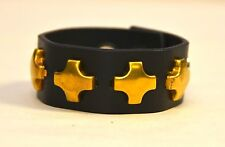 GOLD CROSS STUD LEATHER BRACELET PUNK GOTH CLUB ROCKABILLY BRACELET BIKERS