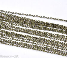 5X10M Bronze Tone Flat Link-Opened Chains 3x2mm