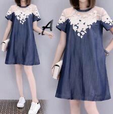 Korean Womens Embroidery Short Dress A-Line Loose Fashion Crew Neck Summer 5XL D