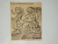 VTG Political Cartoon UP, JOE, AND GIVE UNCLE SAM A HAND! Newspaper Clipping