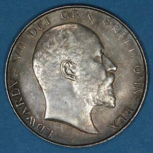 1907 Great Britain 1/2 Half Crown silver coin, AU, KM# 802