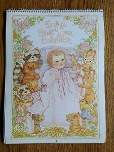 NEW 1982 VINTAGE Spiral Bound BABY'S FIRST YEAR CALENDAR Book Stickers Woodland