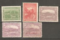 Australia Tasmania  LOT Sc LITHO and TYPO 1905 1911  5 STAMPS  mint hr fvf