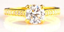 D/VVS1 Solide 585er Gelb Gold 2,50 Karat Rund Form Wunderbar Hochzeit Ring