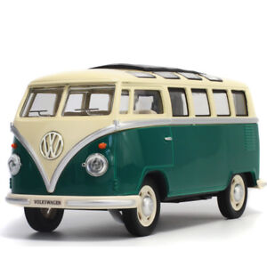 Vw Classical Bus 1962 Model Cars 1:24 Toys Sound&Light Gifts Alloy Diecast Green