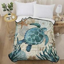 3D Sea Turtle Velvet Plush Throw Blanket Sherpa Bedding Thin Quilt 60×80in