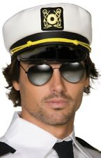Mujer Hombre Tejido Blanco Marinero Sombrero Capitán Disfraz Accesorio