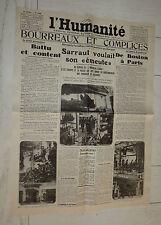 FAC-SIMILE A LA UNE JOURNAL L'HUMANITE 25/08 1927 SACCO ET VANZETTI SARRAUT