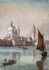 JOSEPH TWIGG (1844-1914) Watercolour Painting BOATS OFF VENICE ITALY c1900