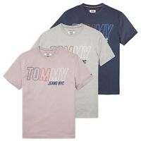 TOMMY HILFIGER T-SHIRT - TOMMY JEANS BLOCK LOGO TEE - GREY, NAVY, PINK