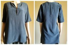 Theory Womens Antazie Silk Concord Navy Hi-Low Short Sleeved Blouse s $265