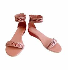 Size 11 Wide Width Women's Woven Leather 3cm Wedge Sandals Handmade in Bali