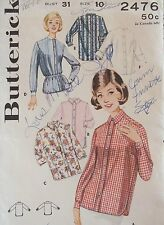 Amazing VTG 60s BUTTERICK 2476 Misses Shirt-Blouse PATTERN Sz 10 UC