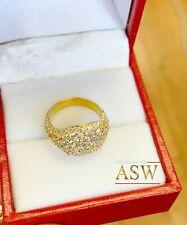 14K Yellow Gold Round Cut Diamond Ring Eternity Style Pinky Micro Pave 2.00ctw
