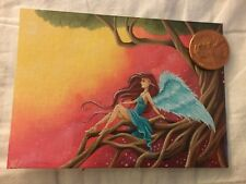 ACEO fantasy fairy angel art tree sunset surrealism expressionism girl magic sun