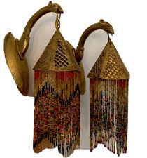2 Vintage Brass Sconces glass Beaded Fringe