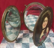 Antique Victorian Beveled Glass Oval Tri Fold Vanity Dresser Wall Mirror