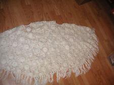 White crochet shrug wrap knit  XL shawl
