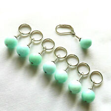 KNITTING ACCESSORIES. STITCH MARKERS. HANDMADE. BRAZILIAN AQUAMARINE BEADS  #017