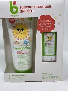 Babyganics Baby Sunscreen Lotion 50 SPF+ 6 Oz Tube and Bonus Travel Stick .47 Oz