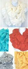 G1002LP. Solid Color Ruffle Infinity Scarf Lot of 24 (4 each of 6 colors)