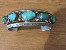 Vintage Navajo Sterling Silver Turquoise Cuff Bracelet Stamped B. Haley 6.75