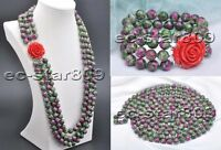 X0476 Set 10mm Round Green-Red Stone Bead necklace