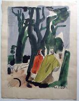 Antoine Chartres (1903-1968)  Aquarelle ancienne Paysage aux Apôtres signé
