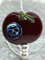 "Handmade Lampwork glass focal bead ""Poison Apple"" SRA, TWLGlass, Halloween"