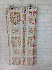 Vintage 1960's Green and Pink Flower Pattern Curtain Material Fabric