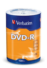 100 VERBATIM DVD-R 16X 4.7GB Branded Logo Media Disc - Tape Wrap - 96525