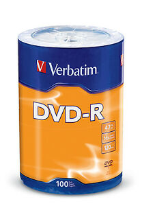 100 VERBATIM 16X DVD DVD-R 4.7GB Branded/ Logo Media Disc 96525