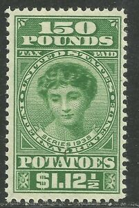U.S. Revenue Potato Tax stamp scott ri12 - $1.12 1/2 cents/150 pounds - mlh - #4
