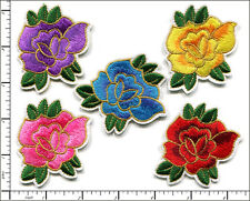 20 Pcs Embroidered Iron on patches 5 Color Mixed Rose Flower 6.5x5.5cm AP022nD