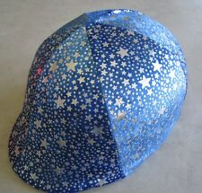 Horse Helmet Cover Royal & Silver stars AUSTRALIAN MADE Choose your helmet cover