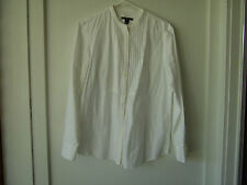 White GAP Large Cotton Blouse Mandarin Collar Long Sleeves Pleated Front