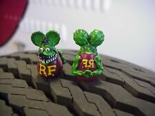 RAT FINK VALVE STEM CAPS GREEN  PAIR ED ROTH KUSTOM HOT ROD RAT GASSER