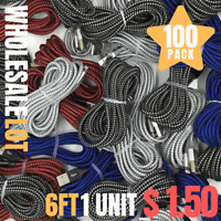 100X iPhone Charger Lot 6Ft 10Ft Nylon Braided USB Charging Cable Wholesale Bulk