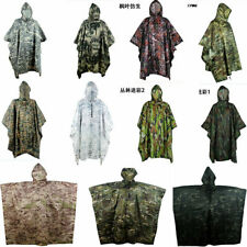 Tactical Camo Poncho Groundsheet Mat Canopy Shelter Hooded Raincoat Outdoor